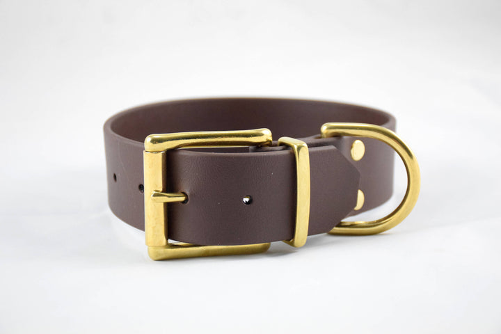 The Undomiel BT Collar: Brown & Brass Biothane Dog Collar