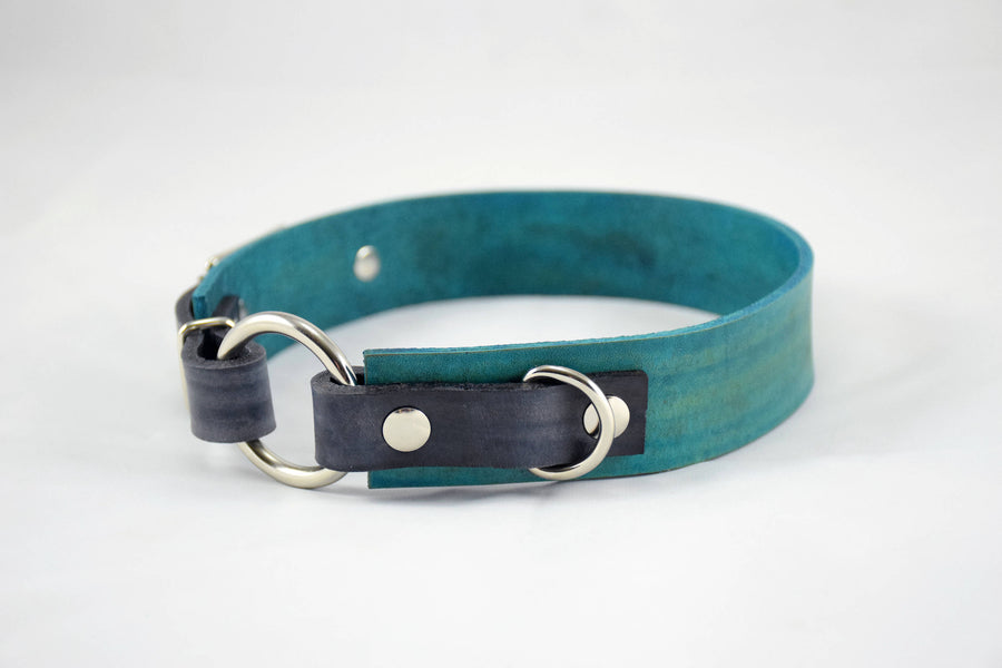 The Osgiliath Collar: Teal & Walnut Leather Dog Collar