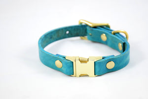 The Halfling QR Collar: Teal & Brass Quick Release Leather Dog Collar