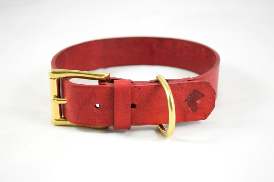 The Undomiel Collar: Red Leather Dog Collar