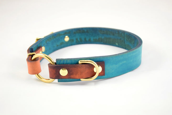 The Osgiliath Collar: Teal & Timber Leather Dog Collar