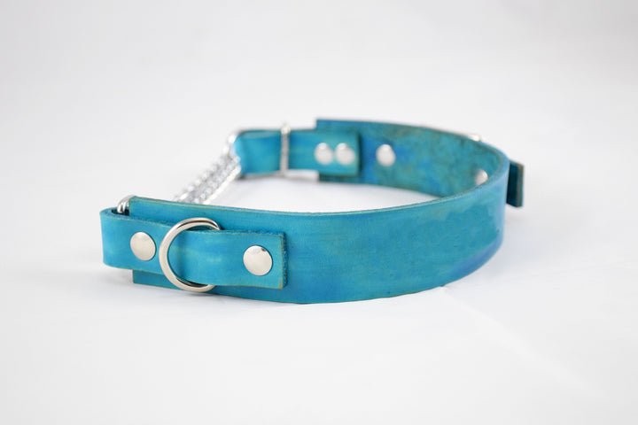 The Anduril Collar: Teal Adjustable Leather Martingale Dog Collar