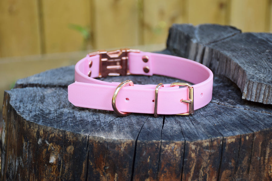 The Elessar QR BT Collar: Pastel Pink & Rose Gold Biothane Dog Collar