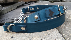 The Anduril Collar: Navy Blue Adjustable Leather Martingale Dog Collar