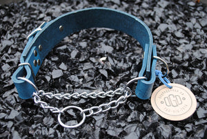 The Hornburg Collar: Navy Blue Heavy Duty Adjustable Leather Martingale Dog Collar