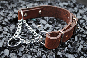 The Hornburg Collar: Timber Brown Heavy Duty Adjustable Leather Martingale Dog Collar