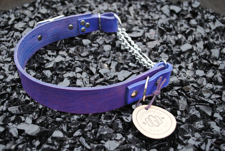 The Hornburg Collar: Purple Heavy Duty Adjustable Leather Martingale Dog Collar