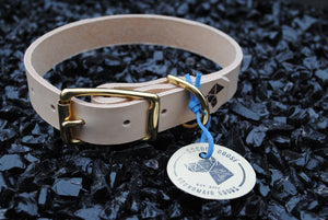 The Elessar Collar: Natural Tan & Brass Leather Dog Collar