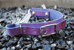The Anduril Collar: Purple Adjustable Leather Martingale Dog Collar