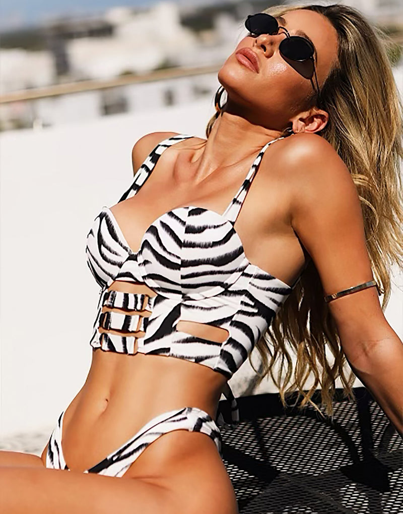 Kingston Bustier Bikini Top in Zebra - Alternate Angled View / Summer 2021 Miami Runway Show