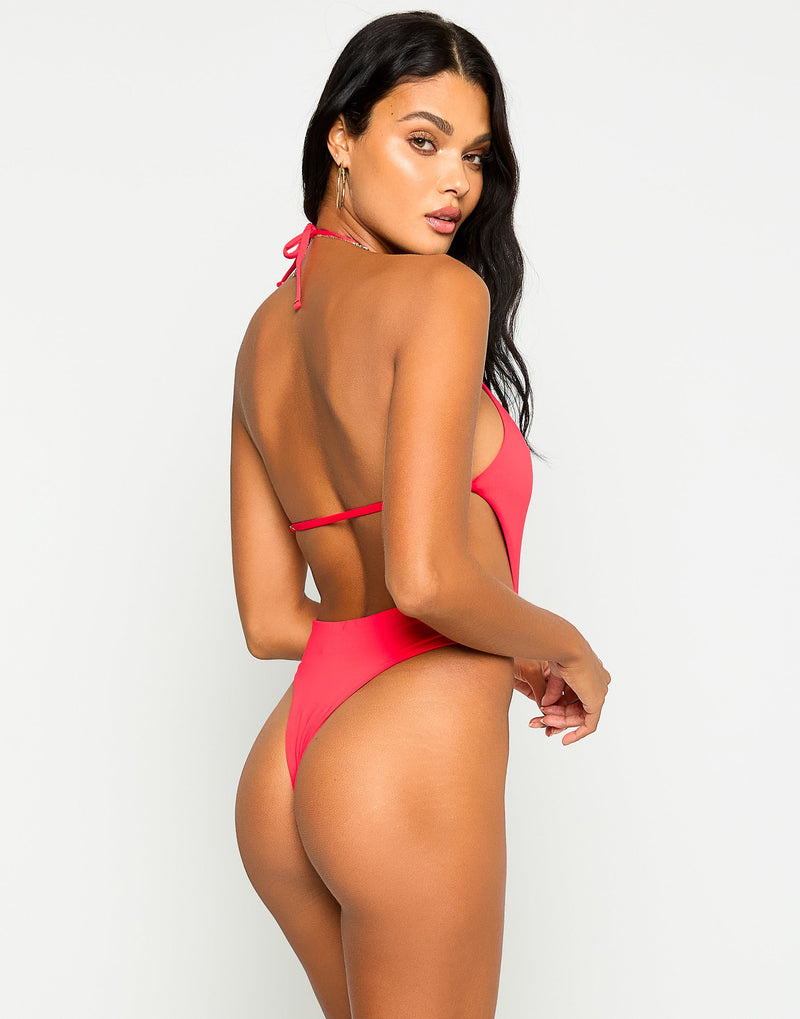 Brooklyn One Piece in Red with Gold Chain Hardware - Back View
