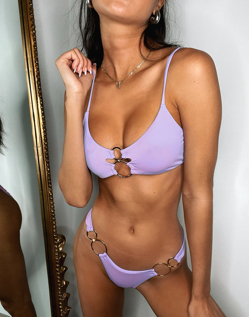 Nadia Skimpy Bikini Bottom in Lavender with Gold Hardware - Detail View