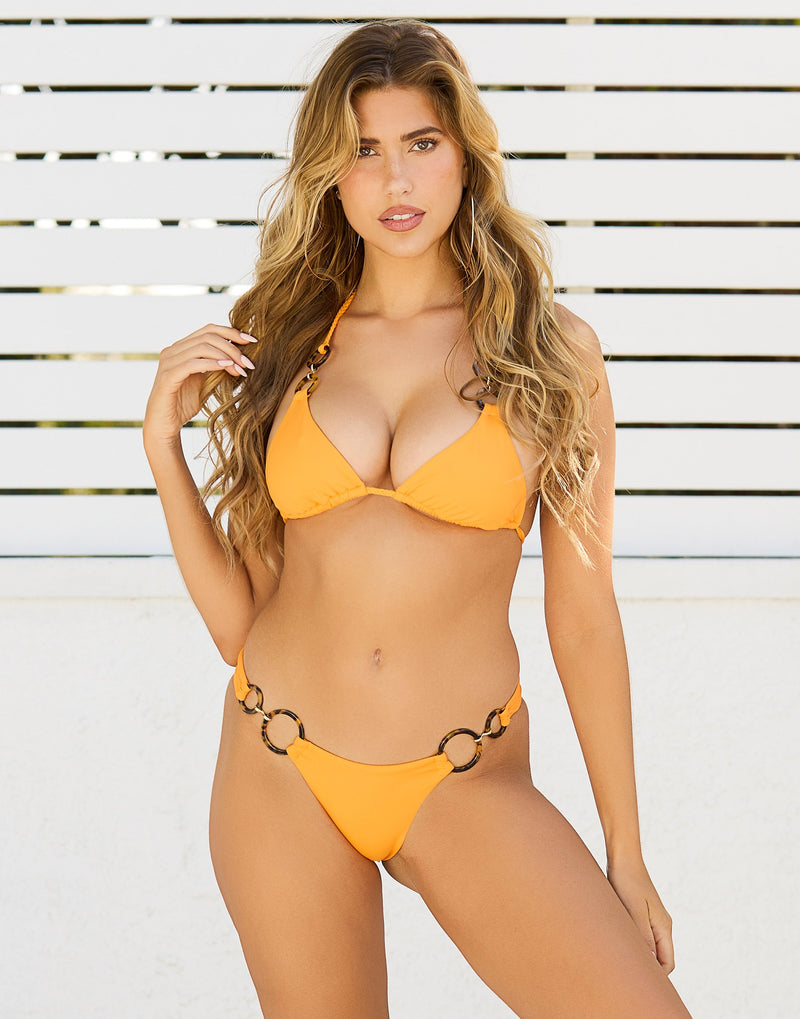 Nadia Skimpy Bikini Bottom in Soleil with Acrylic Rings with Gold Link Hardware - Front View