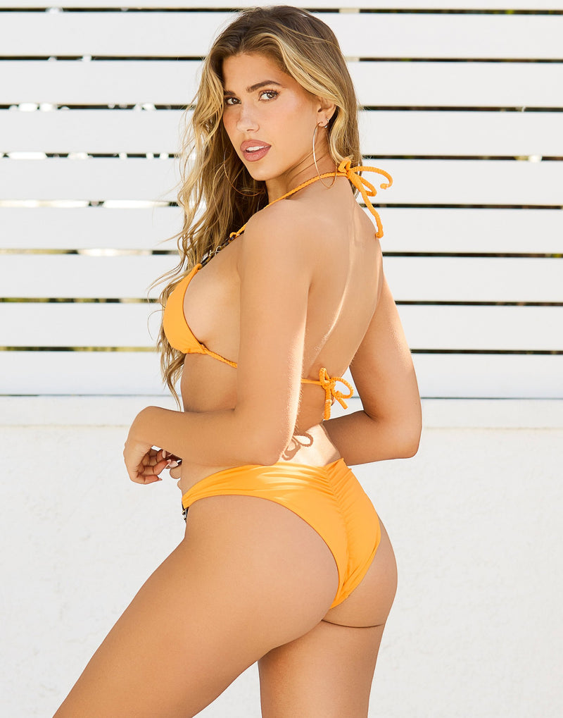 Nadia Skimpy Bikini Bottom in Soleil with Acrylic Rings with Gold Link Hardware - Back View