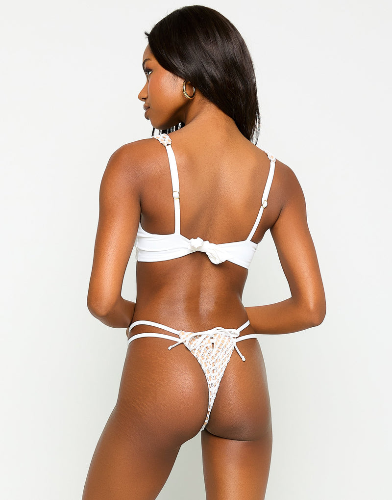 Hudson High Apex Bikini Top in White - Back View
