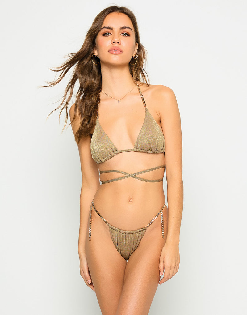 Brooklyn Triangle Top with Strappy Details in Tortuga with Gold Chain Hardware - Front View