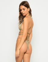 Brooklyn Triangle Top with Strappy Details in Tortuga with Gold Chain Hardware - Back View