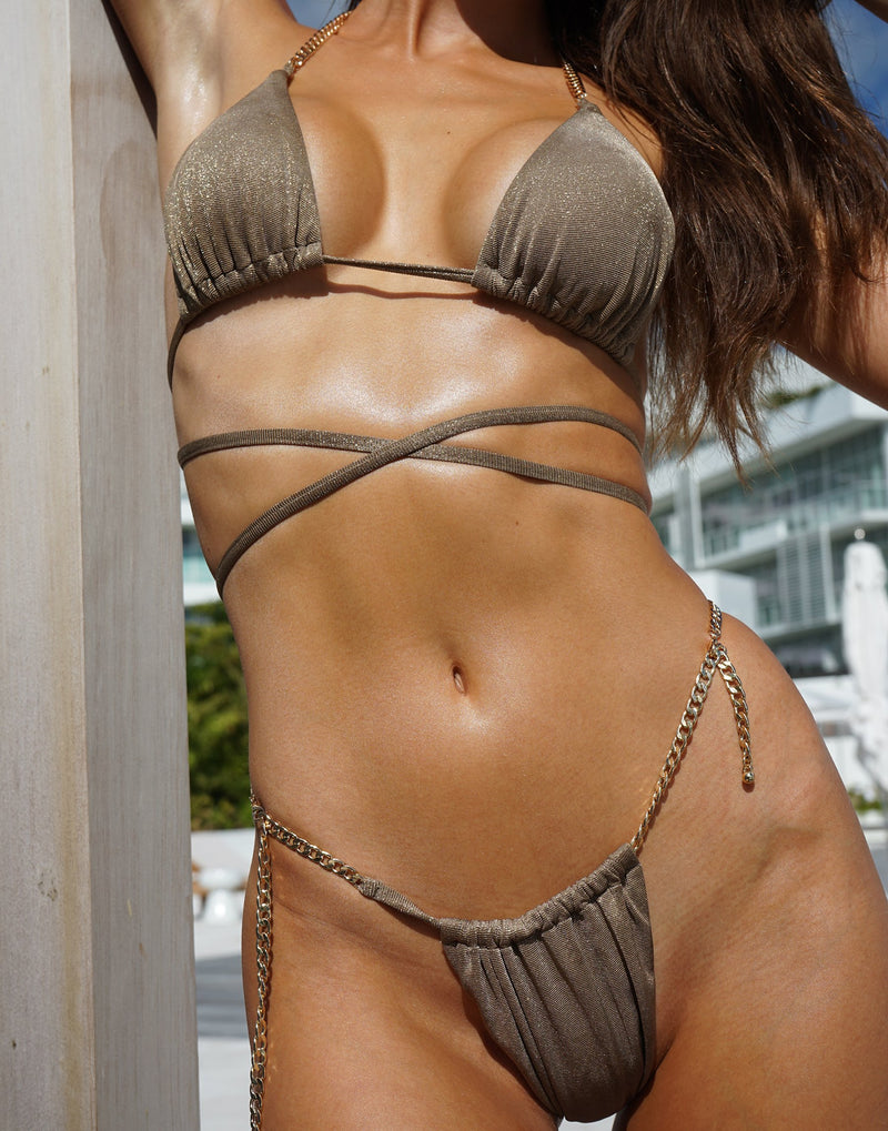 Brooklyn Triangle Top with Strappy Details in Tortuga with Gold Chain Hardware - Detail View