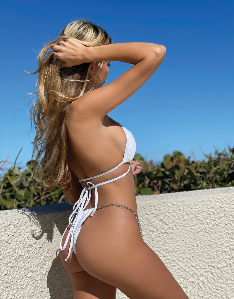 Brooklyn Tango Bikini Bottom in White with Gold Chain Hardware - Alternate Back View