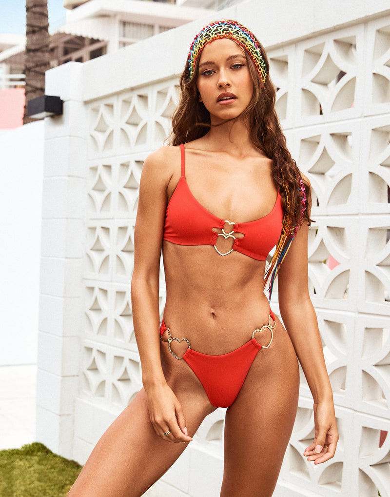 Lexi Love Bralette Bikini Top in Red with Gold Heart Hardware - Alternate Front View / Spring 2021 Campaign - Isabelle Mathers