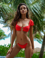 Lexi Love Tango Bikini Bottom in Red with Gold Heart Hardware - Alternate Front View