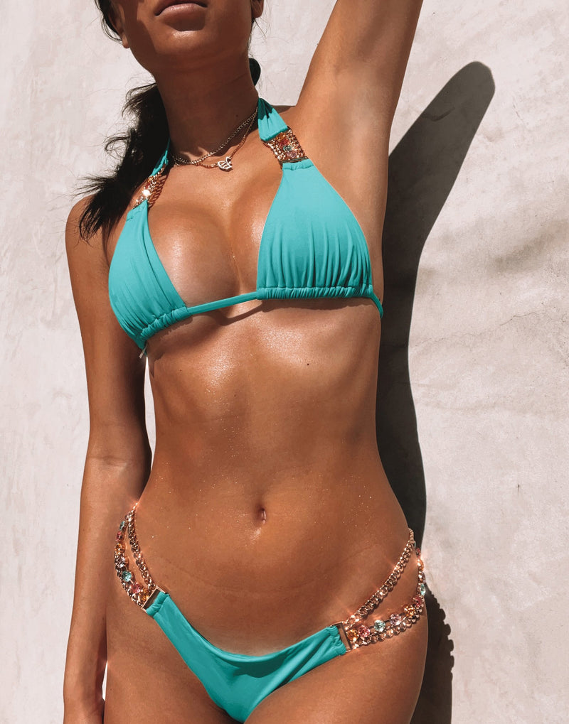 Tiana Skimpy Bikini Bottom in Maldives with Gold/Multi Hardware - Alternate Detail View