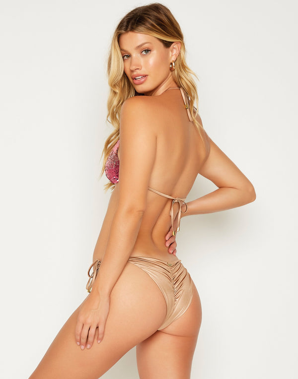 Ariel Tie Side Bikini Bottom in Pink Ombre - back view