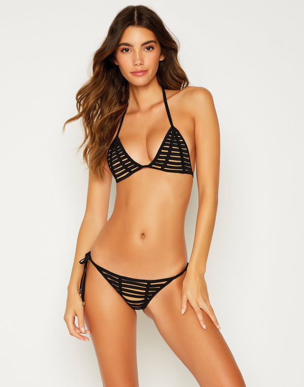 Black Hard Summer Triangle Bikini Top - front view