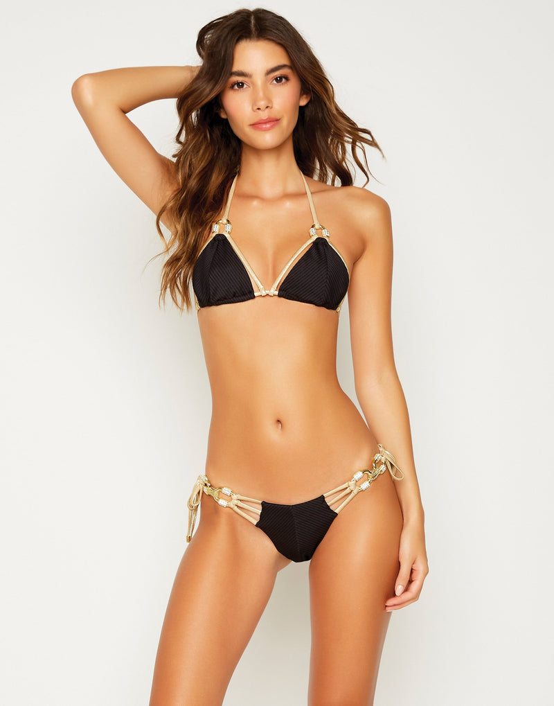Madagascar Glam Sexy Tie Side Bikini Bottom in Black with Gold Hardware - front view