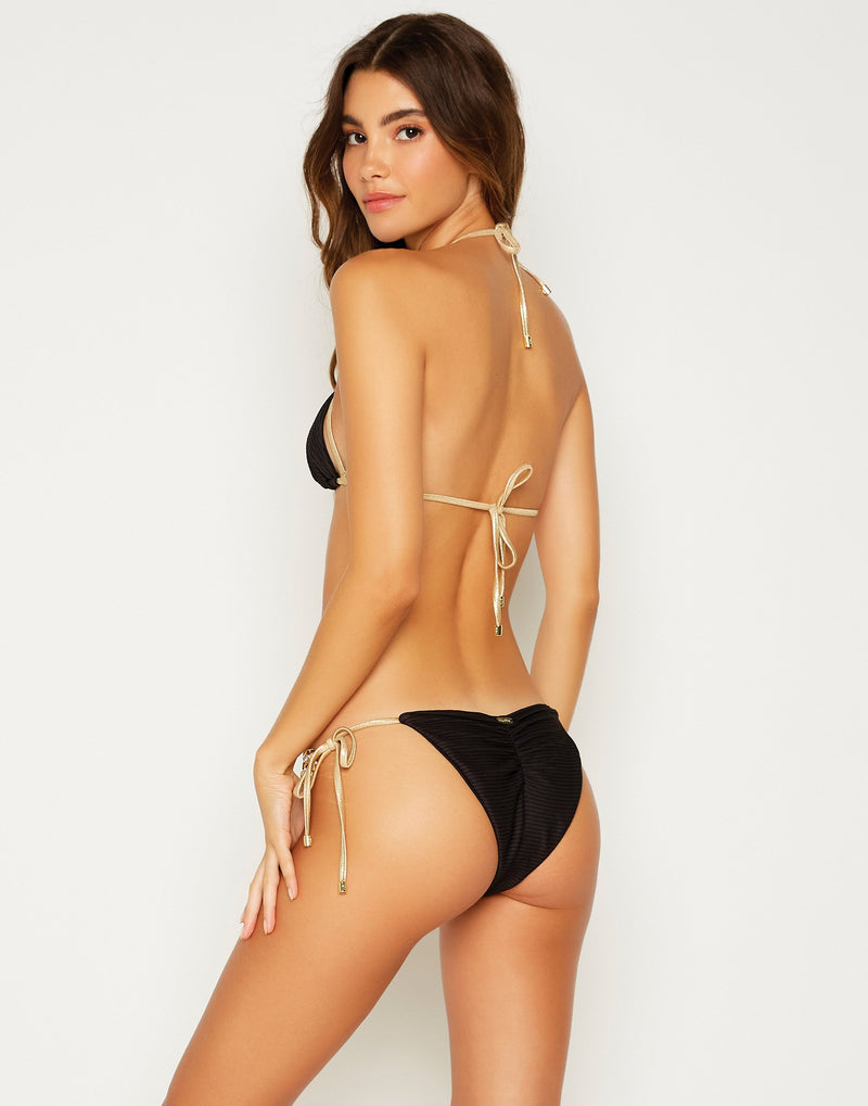 Madagascar Glam Tie Side Bikini Bottom in Black - back view