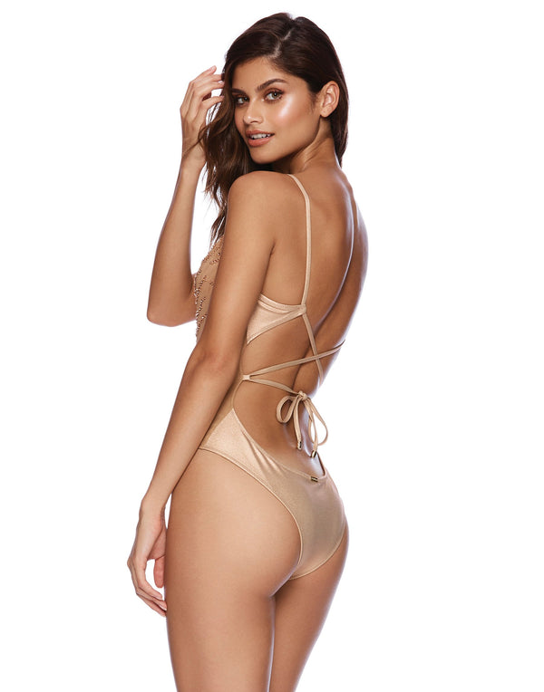 Nala One Piece in Rose Gold with Beads and Sequins - side view
