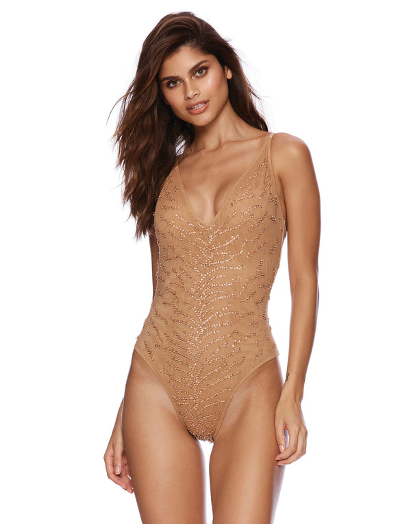 Nala One Piece in Rose Gold with Beads and Sequins - front view