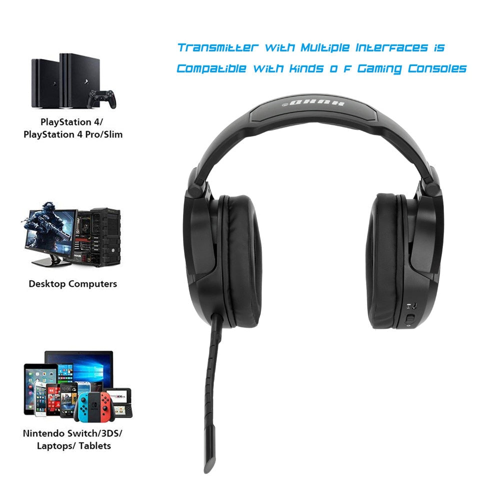fe885e2b24b ... HUHD HW-K8 Wireless 2.4G Optical Fiber Stereo Gaming Headset ...