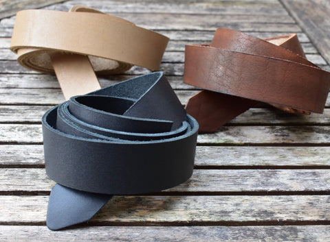 leather belt in three colors - black, dark brown and beige