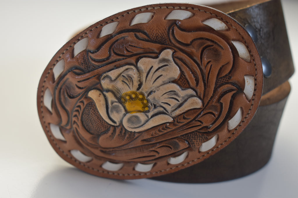Leather Belt Buckles Flower Cowboy Style