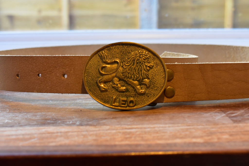 custom beige leather belt with solid brass buckle with Leo image