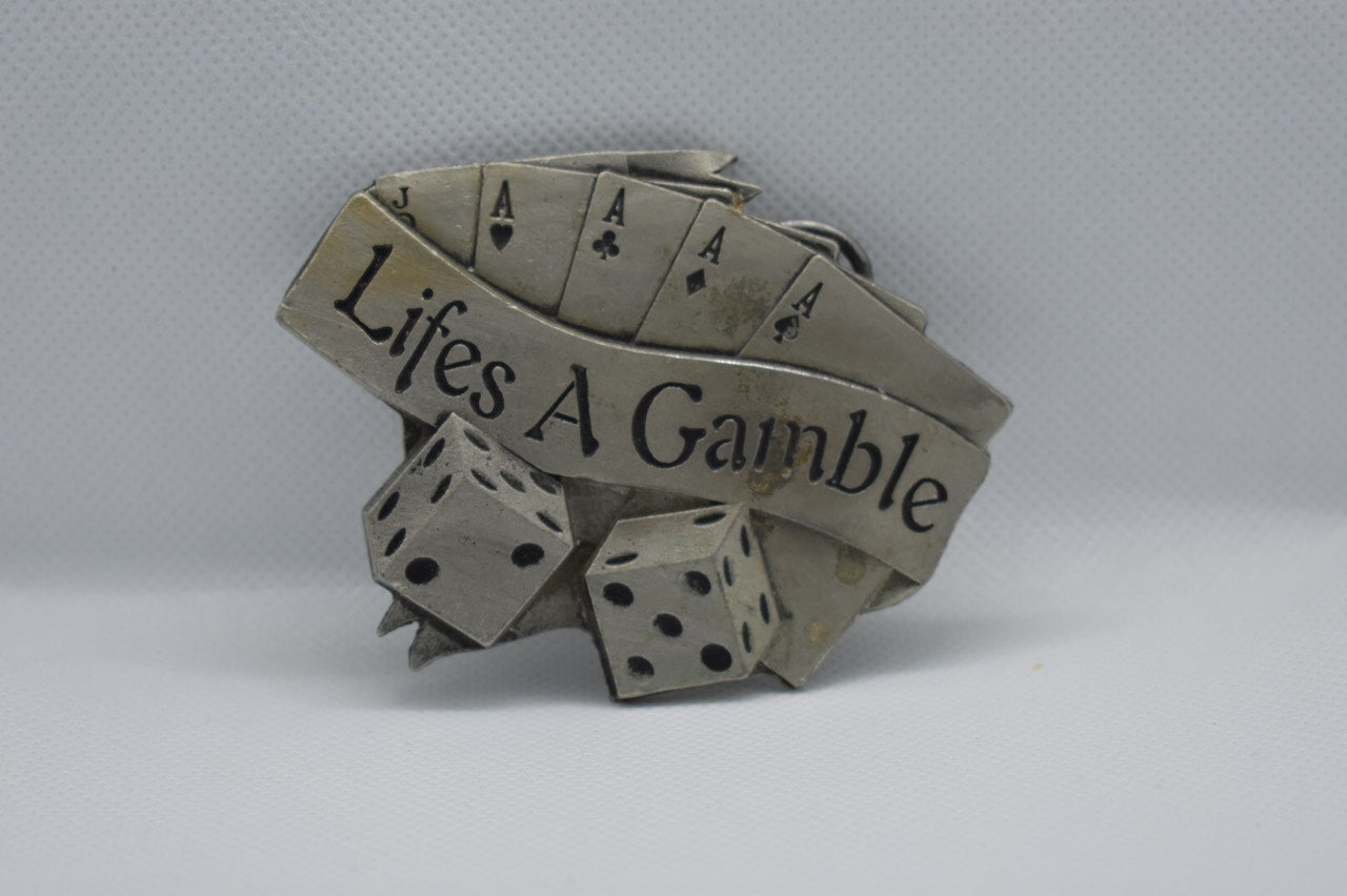 custom belt buckles - life is a gamble message