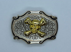 custom belt buckles skull & crossbones
