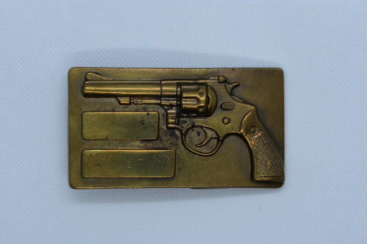 custom belt buckles magnum gun