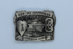 custom belt buckles key to happiness river flows