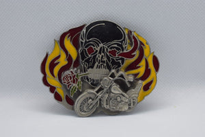 custom belt buckle skull and motorcycle