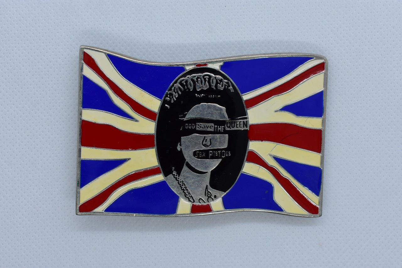 custom belt buckles - sex pistols queen British flag