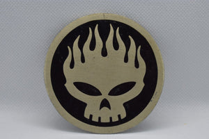 custom belt buckles - skull on fire