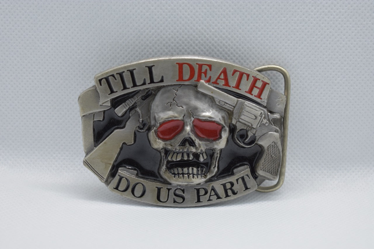 custom belt buckles - skull and gun