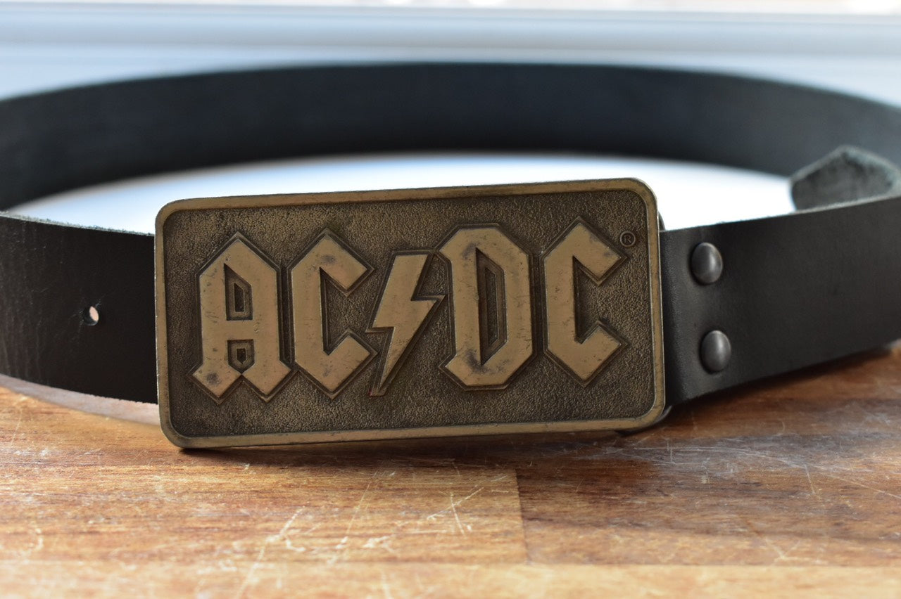 custom black leather belt ac dc  buckle
