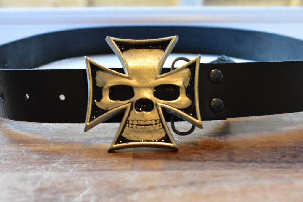 custom black leather belt with cross shaped skull buckle