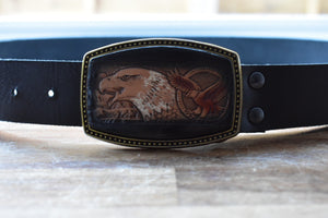 custom black leather belt with leather buckle with american eagle on it