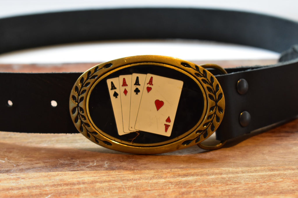 custom black leather belt with four aces solid brass buckle