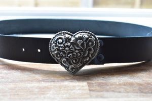 custom black leather belt with heart shaped brass buckle