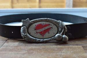custom black leather belt with rock n roll and pink heart buckle